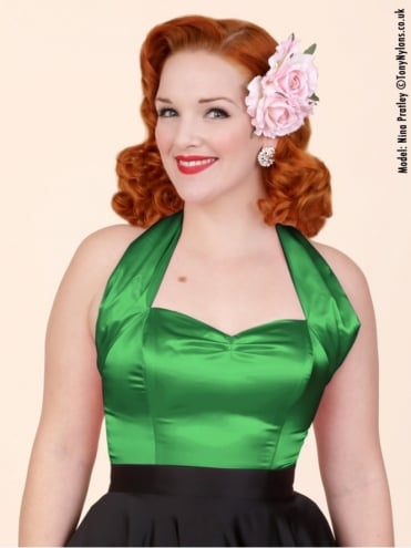 50s-1950s-Vivien-of-Holloway-Best-Vintage-Style-Reproduction-Repro-Halterneck-Top-Green-Satin-Rockabilly-Swing-Pinup