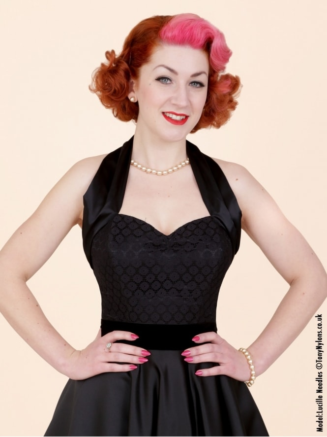 50s-1950s-Vivien-of-Holloway-Best-Vintage-Style-Reproduction-Repro-Halterneck-Top-Luxury-Black-Satin-Dutch-Lace-Rockabilly-Swing-Pinup