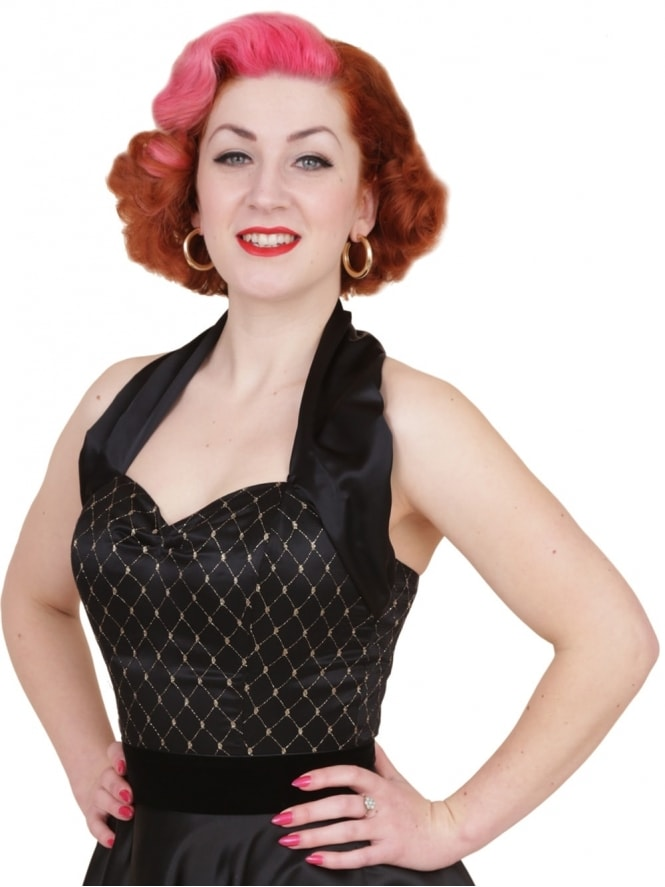 50s-1950s-Vivien-of-Holloway-Best-Vintage-Style-Reproduction-Repro-Halterneck-Top-Luxury-Black-Satin-Black-Gold-Lace-Rockabilly-Swing-Pinup