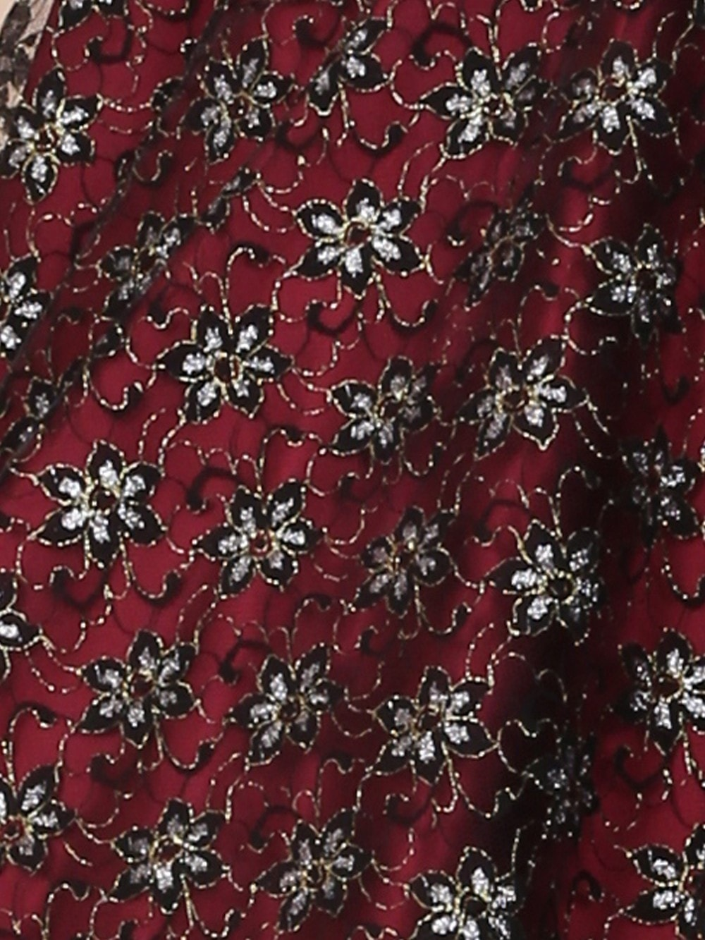 16a884af5 Halterneck Top Luxury Burgundy with Black Silver Lace from Vivien of ...