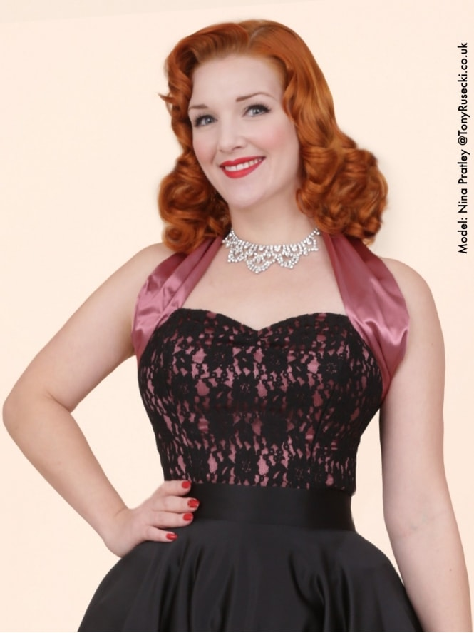 50s-1950s-Vivien-of-Holloway-Best-Vintage-Style-Reproduction-Repro-Halterneck-Top-Luxury-Dusky-Pink-Satin-Black-Lace-Rockabilly-Swing-Pinup