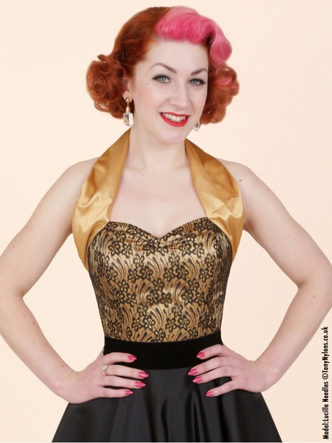 50s-1950s-Vivien-of-Holloway-Best-Vintage-Style-Reproduction-Repro-Halterneck-Top-Luxury-Gold-Satin-Black-Lace-Rockabilly-Swing-Pinup