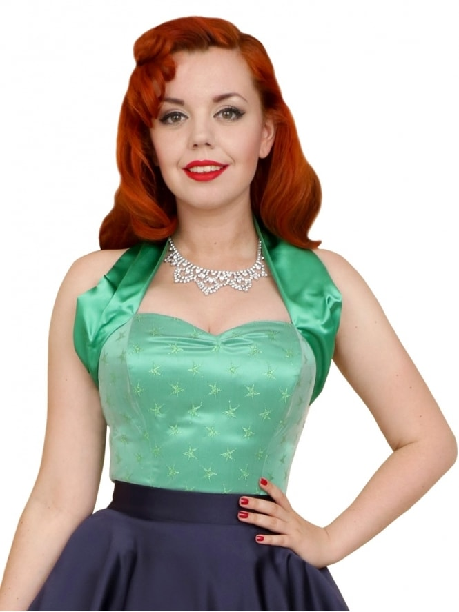50s-1950s-Vivien-of-Holloway-Best-Vintage-Style-Reproduction-Repro-Halterneck-Top-Luxury-Satin-Green-Star-Rockabilly-Swing-Pinup