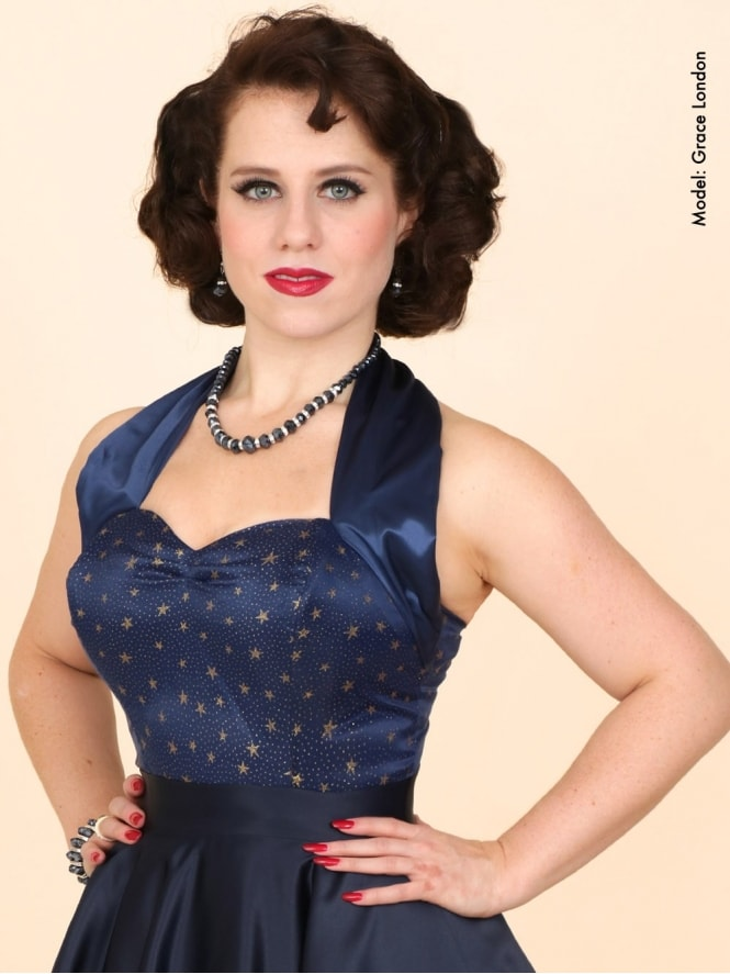 50s-1950s-Vivien-of-Holloway-Best-Vintage-Style-Reproduction-Repro-Halterneck-Top-Luxury-Navy-Satin-Gold-Stars-Rockabilly-Swing-Pinup