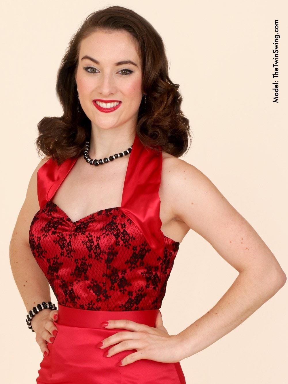 052350895f2 Halterneck Top Luxury Red Satin Black Lace