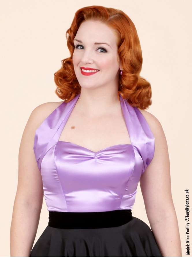 50s-1950s-Vivien-of-Holloway-Best-Vintage-Style-Reproduction-Repro-Halterneck-Top-Mauve-Purple-Satin-Rockabilly-Swing-Pinup