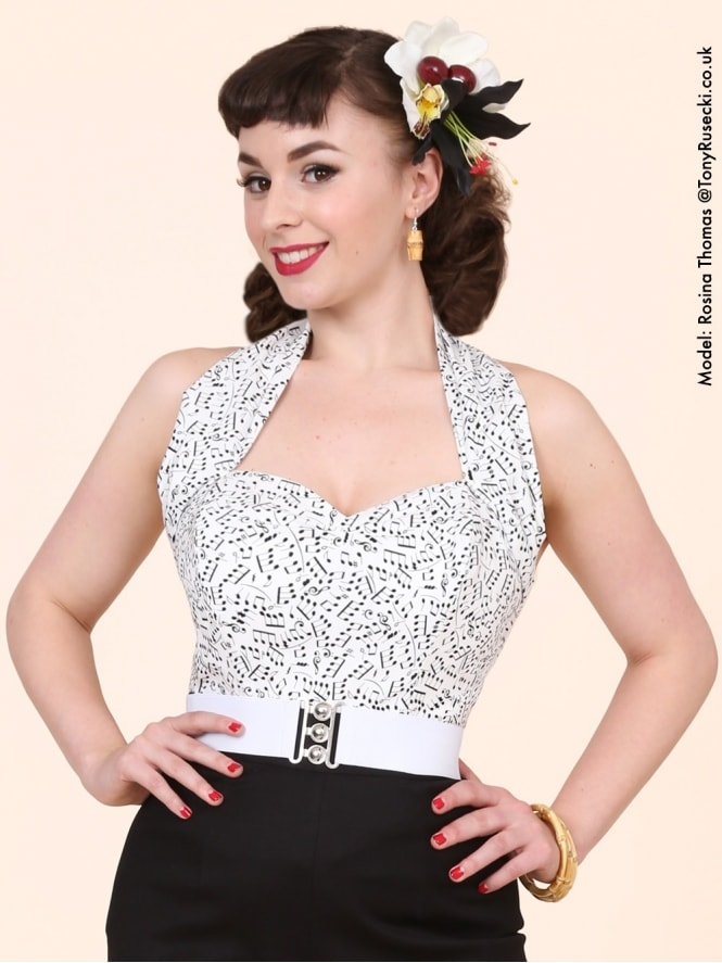 50s-1950s-Vivien-of-Holloway-Best-Vintage-Style-Reproduction-Repro-Halterneck-Top-Music-Notes-White-Black-Print-Rockabilly-Swing-Pinup