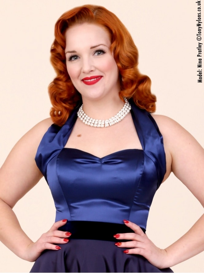 50s-1950s-Vivien-of-Holloway-Best-Vintage-Style-Reproduction-Repro-Halterneck-Top-Navy-Blue-Satin-Rockabilly-Swing-Pinup