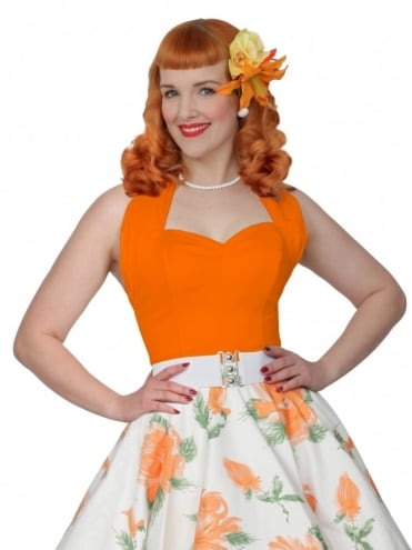 50s-1950s-Vivien-of-Holloway-Best-Vintage-Style-Reproduction-Repro-Halterneck-Top-Orange-Cotton-Rockabilly-Swing-Pinup