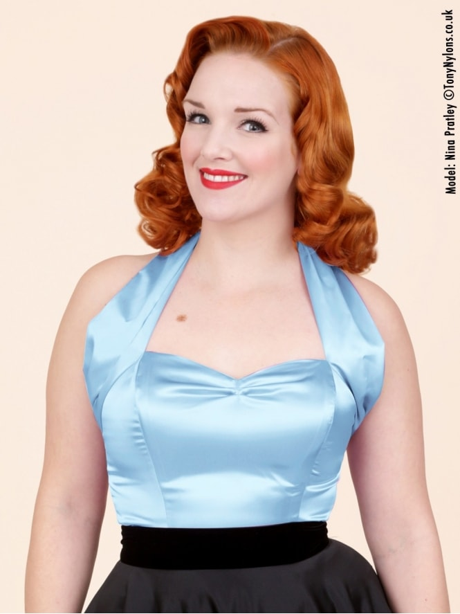 50s-1950s-Vivien-of-Holloway-Best-Vintage-Style-Reproduction-Repro-Halterneck-Top-Pale-Blue-Satin-Rockabilly-Swing-Pinup