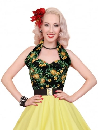 Halterneck Top Pineapple Black