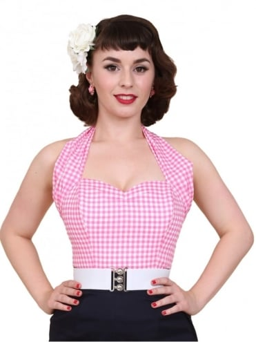 Halterneck Top Pink Gingham