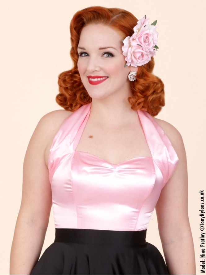 50s-1950s-Vivien-of-Holloway-Best-Vintage-Style-Reproduction-Repro-Halterneck-Top-Pink-Satin-Rockabilly-Swing-Pinup