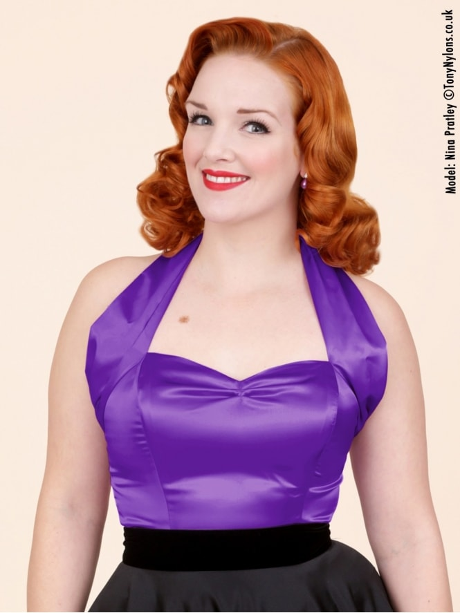 50s-1950s-Vivien-of-Holloway-Best-Vintage-Style-Reproduction-Repro-Halterneck-Top-Purple-Satin-Rockabilly-Swing-Pinup