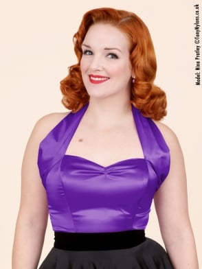 Halterneck Top Purple Satin