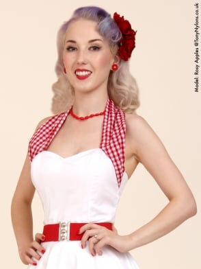 Halterneck Top Red Gingham Neck White