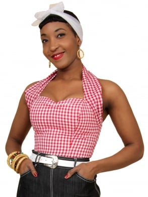Halterneck Top Red Gingham
