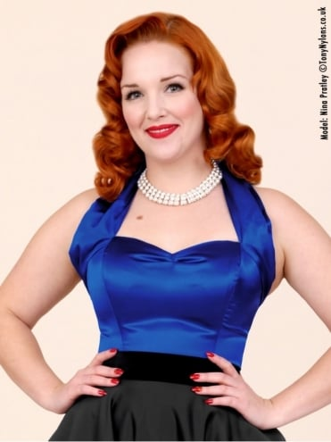 50s-1950s-Vivien-of-Holloway-Best-Vintage-Style-Reproduction-Repro-Halterneck-Top-Royal-Blue-Satin-Rockabilly-Swing-Pinup