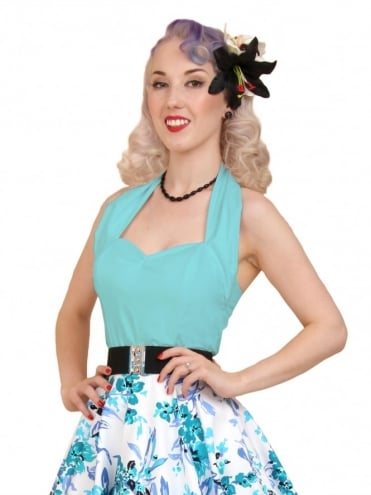 50s-1950s-Vivien-of-Holloway-Best-Vintage-Style-Reproduction-Repro-Halterneck-Top-Sky-Blue-Cotton-Rockabilly-Swing-Pinup