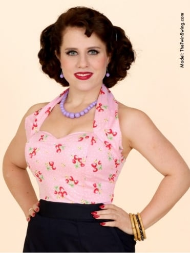 50s-1950s-Vivien-of-Holloway-Best-Vintage-Style-Reproduction-Repro-Halterneck-Strawberry-Pink-Cotton-Rockabilly-Swing-Pinup