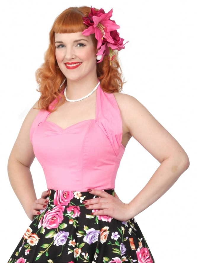 50s-1950s-Vivien-of-Holloway-Best-Vintage-Style-Reproduction-Repro-Halterneck-Top-Sugar-Pink-Cotton-Rockabilly-Swing-Pinup