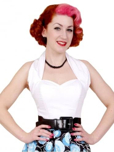50s-1950s-Vivien-of-Holloway-Best-Vintage-Style-Reproduction-Repro-Halterneck-Top-White-Cotton-Rockabilly-Swing-Pinup