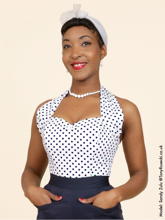 50s-1950s-Vivien-of-Holloway-Best-Vintage-Style-Reproduction-Repro-Halterneck-Top-White-Navy-Spot-Polkadot-Polka-Blue-Rockabilly-Swing-Pinup