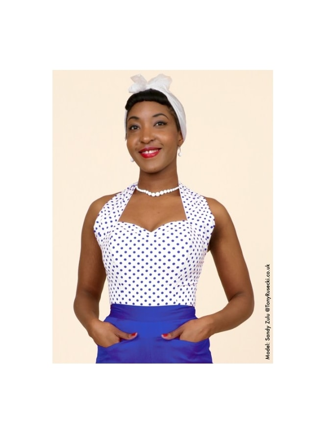 50s-1950s-Vivien-of-Holloway-Best-Vintage-Style-Reproduction-Repro-Halterneck-Top-White-Royal-Spot-Polkadot-Polka-Rockabilly-Swing-Pinup