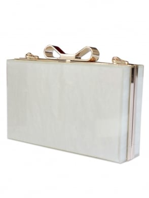 Ivory Marble Bow Clutch