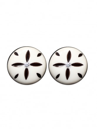Ivory Starburst Clip on Earrings