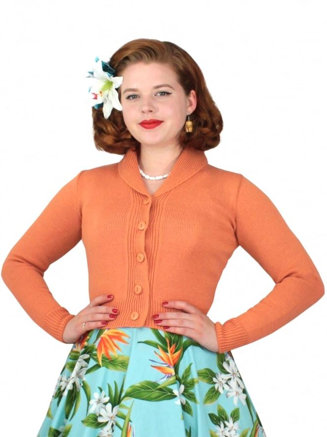 VivienofHolloway-50s-1950s-1940s-40s-Best-Vintage-Style-Reproduction-1940s-Jenny-Cardigan-Aprioct-Rockabilly-Pinup-Pinupgirl-vintage-vintagestyle-Rocker-Jive
