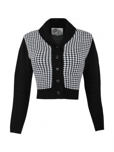 Jenny Cardigan Dogtooth Black