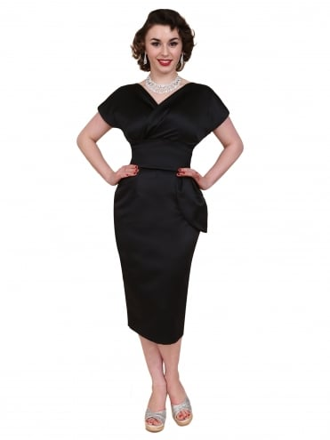50s-1950s-Vivien-of-Holloway-Best-Vintage-Reproduction-Jezebel-Pencil-Wiggle-Wrap-Dress-Black-Duchess-Satin-Hollywood-Pinup