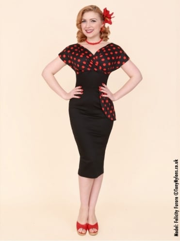50s-1950s-Vivien-of-Holloway-Best-Vintage-Reproduction-Jezebel-Pencil-Wiggle-Wrap-Dress-Black-Red-Polka-Spot-Dot-Hollywood-Pinup