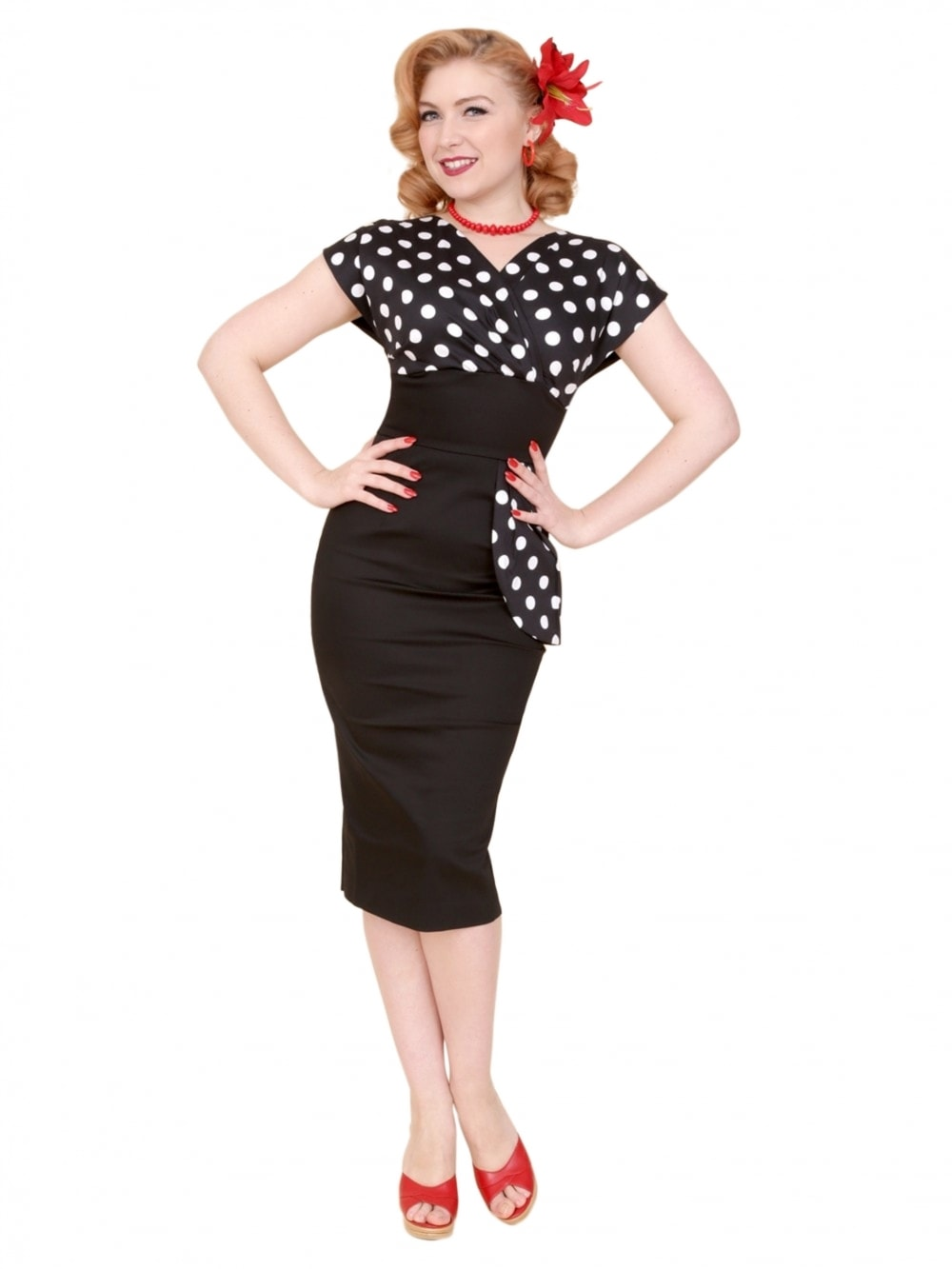 816236a720 Jezebel Black White Polka Bust Dress from Vivien Of Holloway