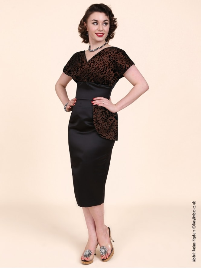 50s-1950s-Vivien-of-Holloway-Best-Vintage-Reproduction-Jezebel-Pencil-Wiggle-Wrap-Dress-Bronze-Leopard-Brown-Animal-Hollywood-Pinup