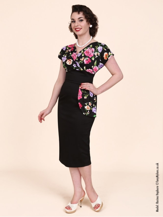 50s-1950s-Vivien-of-Holloway-Best-Vintage-Reproduction-Jezebel-Pencil-Wiggle-Wrap-Dress-Black-Pink-Floral-Noir-Hollywood-Pinup