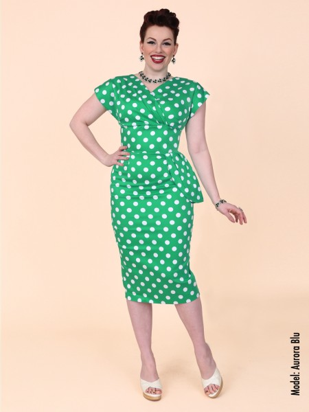 85b4fe470c Jezebel Green White Polka Dress from Vivien Of Holloway
