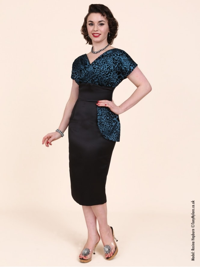 50s-1950s-Vivien-of-Holloway-Best-Vintage-Reproduction-Jezebel-Pencil-Wiggle-Wrap-Dress-Black-Blue-Teal-Leopard-Animal-Hollywood-Pinup