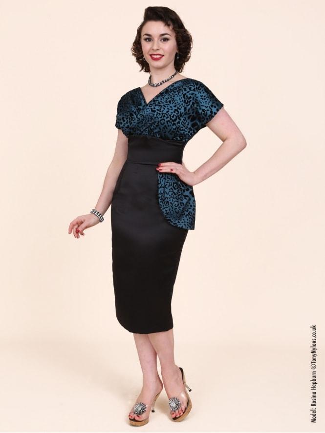8404c9256151 Jezebel Teal Leopard Bust Dress from Vivien Of Holloway