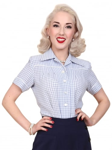40s-1940s-Vivien-of-Holloway-Best-Vintage-Style-Reproduction-Repro-Jojo-Blouse-Blue-Gingham-Rockabilly-Swing-Pinup