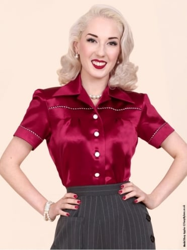 JoJo Blouse Burgundy Crepe Satin