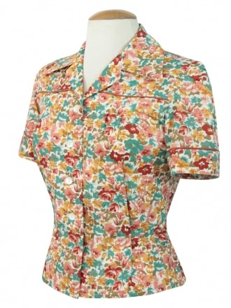 40s-1940s-Vivien-of-Holloway-Best-Vintage-Style-Reproduction-Repro-Jojo-Blouse-Floral-Turquoise-Peach-Print-Rockabilly-Swing-Pinup