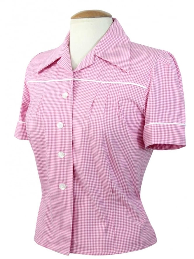 40s-1940s-Vivien-of-Holloway-Best-Vintage-Style-Reproduction-Repro-Jojo-Blouse-Jolly-Gingham-Pink-Print-Rockabilly-Swing-Pinup