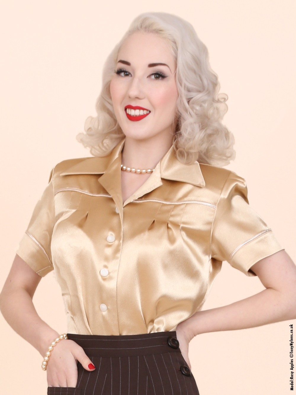 JoJo Blouse Gold Crepe Satin from Vivien of Holloway