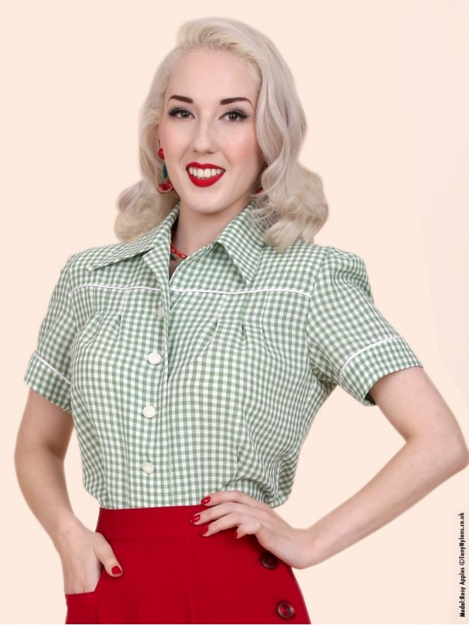 40s-1940s-Vivien-of-Holloway-Best-Vintage-Style-Reproduction-Repro-Jojo-Blouse-Green-Gingham-Rockabilly-Swing-Pinup