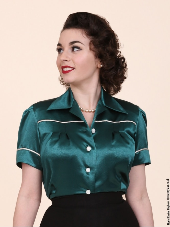 40s-1940s-Vivien-of-Holloway-Best-Vintage-Style-Reproduction-Repro-Jojo-Blouse-Green-Satin-Rockabilly-Swing-Pinup