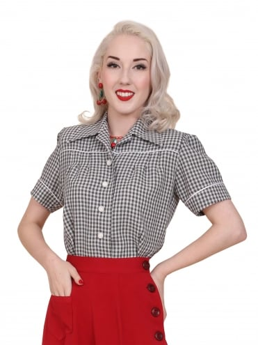 40s-1940s-Vivien-of-Holloway-Best-Vintage-Style-Reproduction-Repro-Jojo-Blouse-Grey-Gingham-Rockabilly-Swing-Pinup