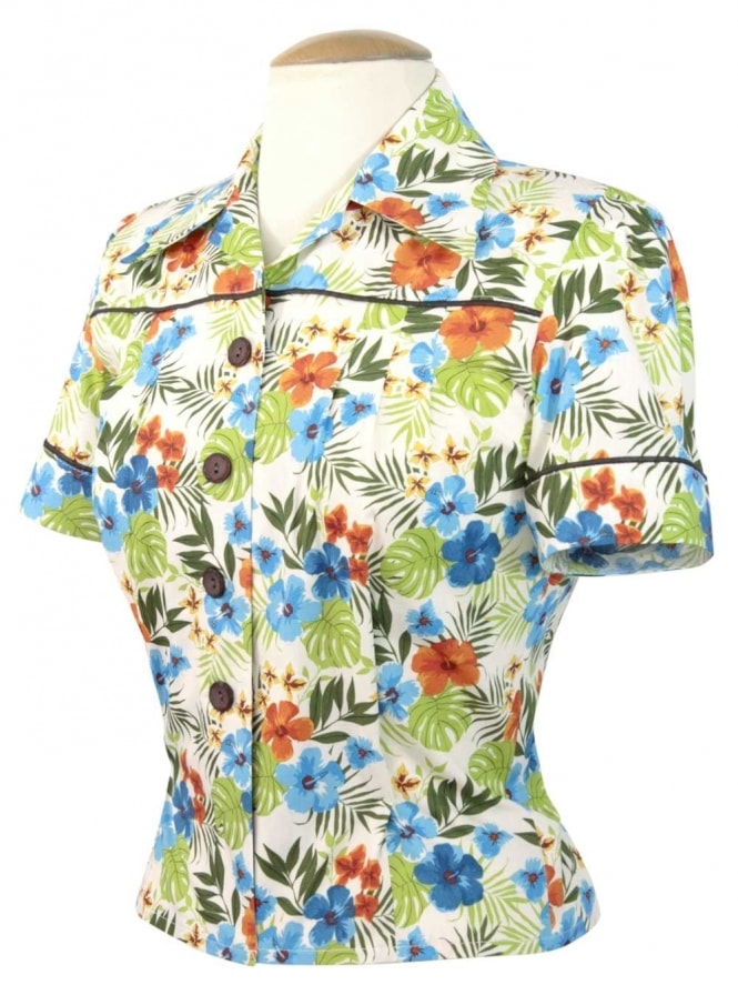 JoJo Blouse Hibiscus Blue Orange