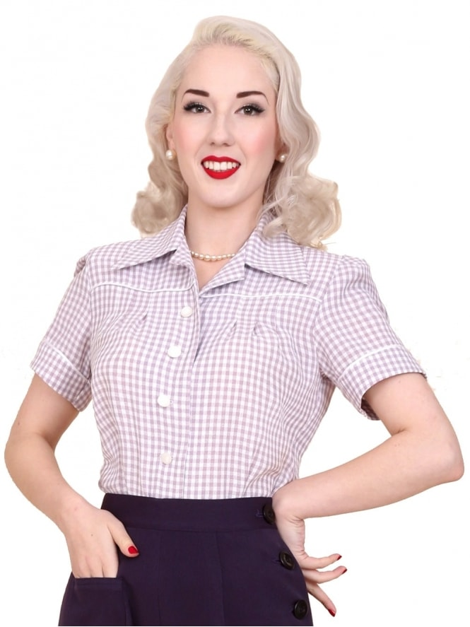 40s-1940s-Vivien-of-Holloway-Best-Vintage-Style-Reproduction-Repro-Jojo-Blouse-Lilac-Purple-Gingham-Rockabilly-Swing-Pinup